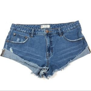 Free People Denim Fold Over Shorts